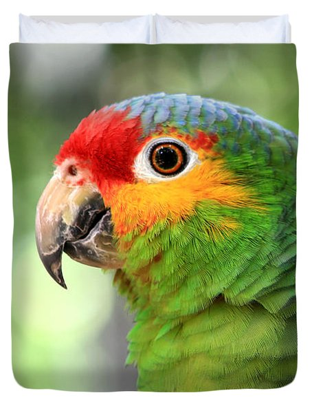 Red-lored Amazon Parrot Duvet Cover by Teresa Zieba