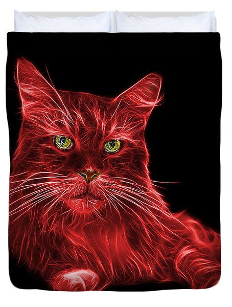 Red Maine Coon Cat - 3926 - Bb Duvet Cover by James Ahn