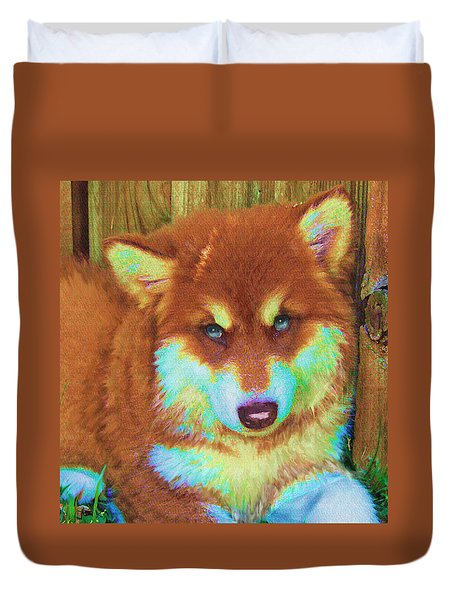 Red Malamute Duvet Cover by Jane Schnetlage
