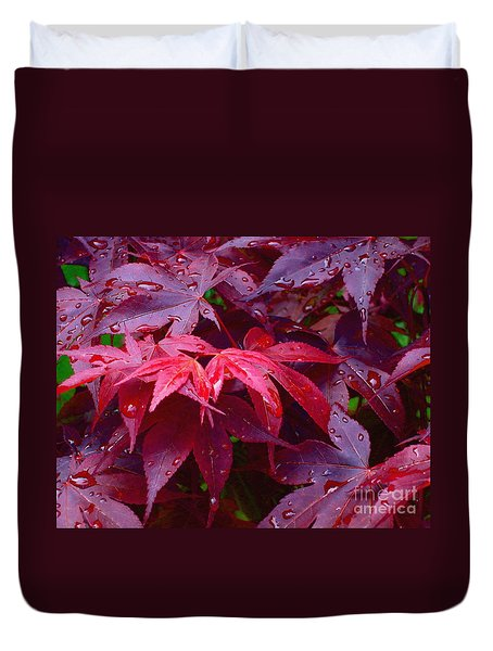 Duvet Cover featuring the photograph Red Maple After Rain by Ann Horn