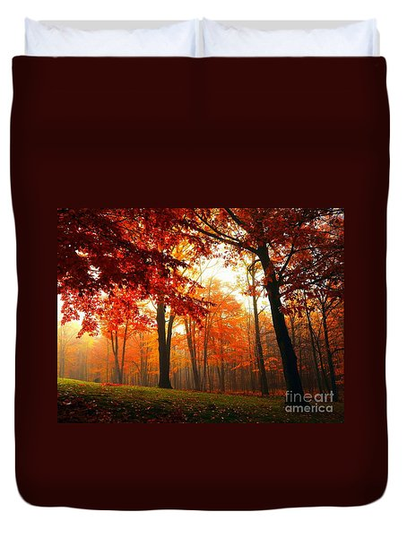 Red Maple Forest Duvet Cover by Terri Gostola