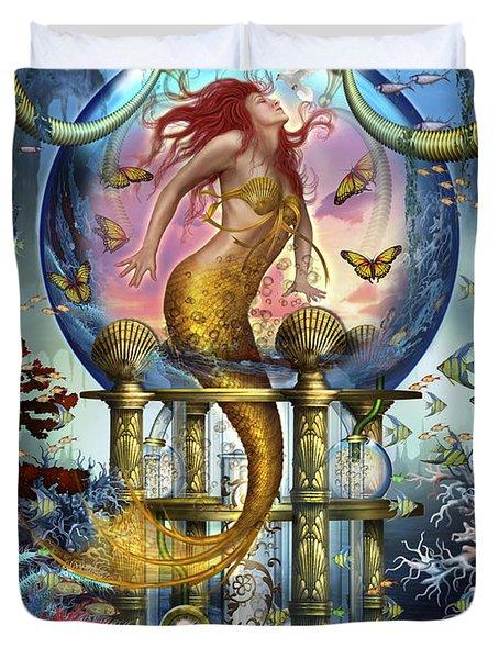 Red Mermaid Duvet Cover by Ciro Marchetti