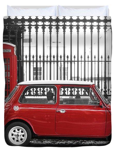 Red Mini Cooper In London Duvet Cover
