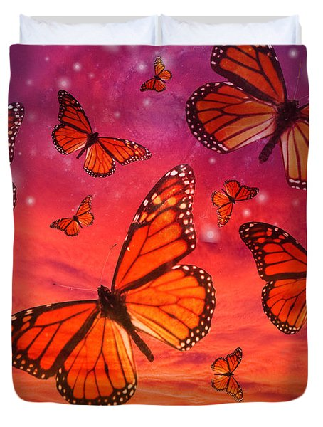 Red Monarch Sunrise Duvet Cover by Alixandra Mullins