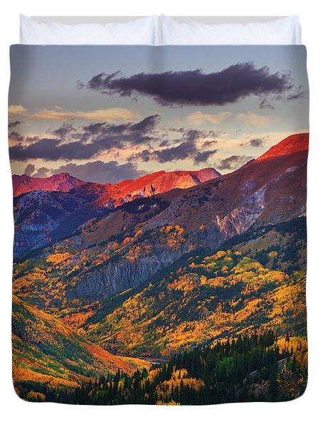 Red Mountain Pass Sunset Duvet Cover