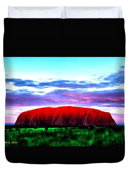 Duvet Cover featuring the painting Red Mountain Sunset by Bruce Nutting