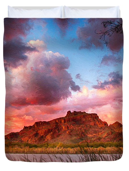 Red Mountain Sunset Duvet Cover by John Haldane
