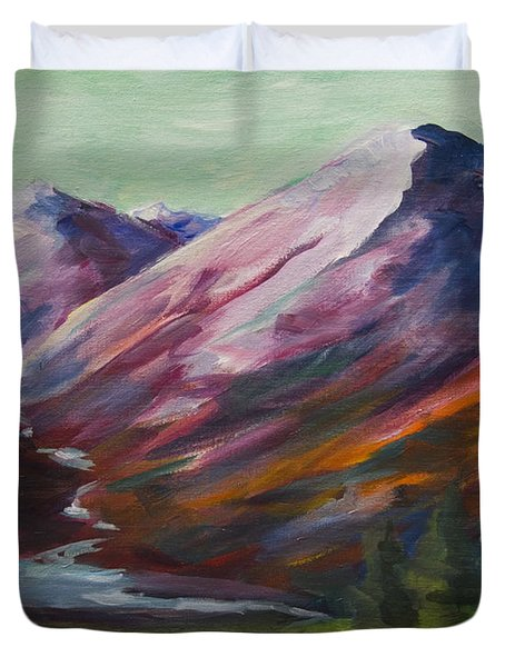 Duvet Cover featuring the painting Red Mountain Surreal Mountain Lanscape by Yulia Kazansky