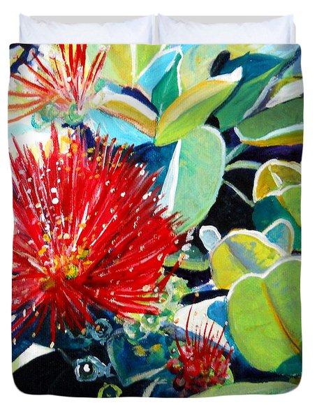 Red Ohia Lehua Flower Duvet Cover