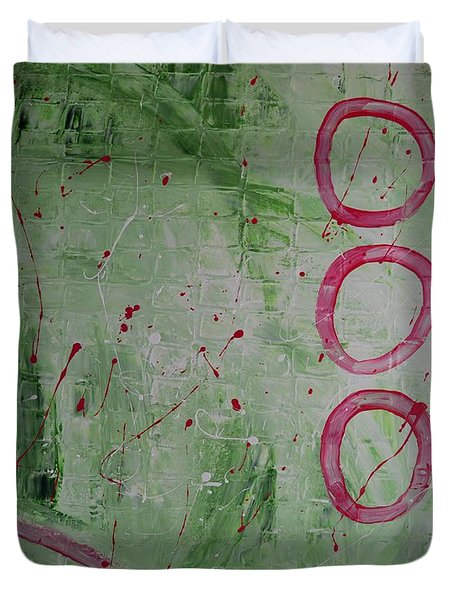 Red On Green Land Abstract Painting By Saribelle Duvet Cover by Saribelle Rodriguez