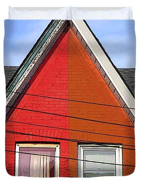 Duvet Cover featuring the photograph Red-orange House by Nina Silver