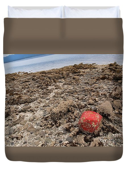 Red Out Of Place Duvet Cover