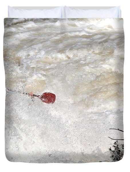 Duvet Cover featuring the photograph Red Paddle by Carol Lynn Coronios