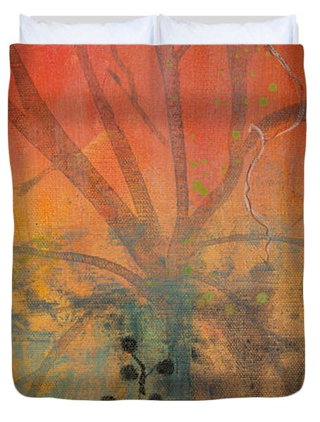 Red Peace Bird Duvet Cover by Robin Maria Pedrero