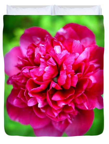 Red Peony Flower Duvet Cover by Edward Fielding