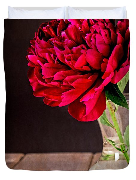 Red Peony Flower Vase Duvet Cover by Edward Fielding