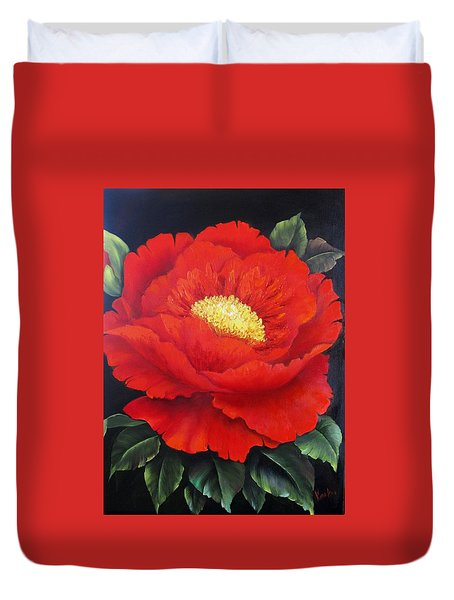 Red Peony Duvet Cover