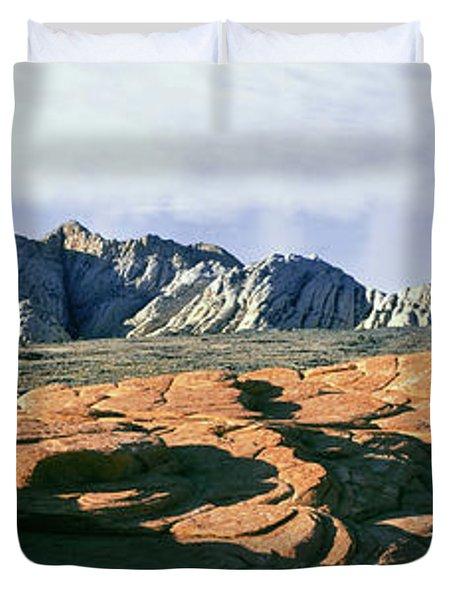 Red Petrified Sand Dunes White Navajo Duvet Cover
