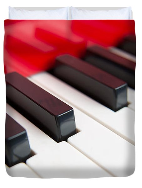 Red Piano Duvet Cover