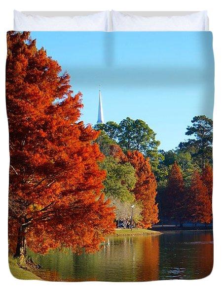 Red Pine On Lake Ella Duvet Cover