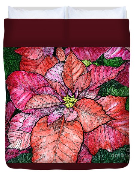 Red Poinsettias II Duvet Cover