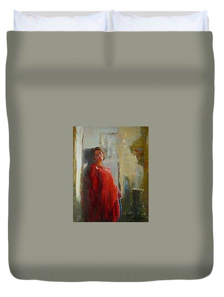 Red Poncho Duvet Cover by Irena  Jablonski