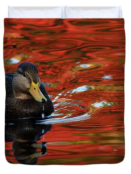 Red Pond Duvet Cover by Karol Livote