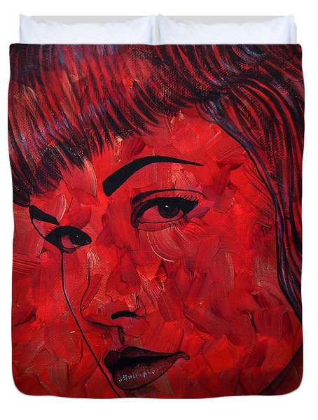 Red Pop Bettie Duvet Cover by Malinda Prudhomme