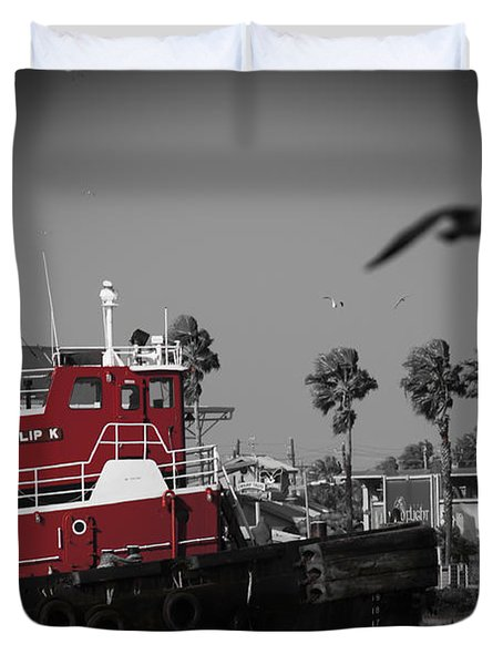 Red Pop Tugboat Duvet Cover