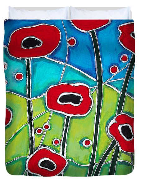 Red Poppies 1 Duvet Cover