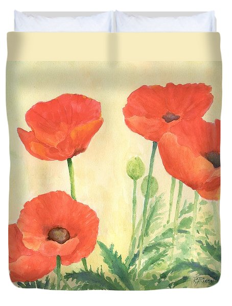 Red Poppies 3 Colorful Watercolor Poppy Floral Original Art Flowers Garden Artist K. Joann Russell Duvet Cover