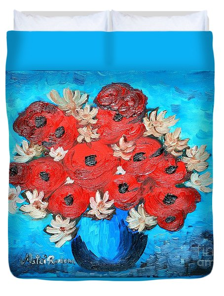 Red Poppies And White Daisies Duvet Cover by Ramona Matei