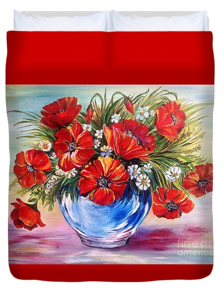 Red Poppies In Blue Vase Duvet Cover