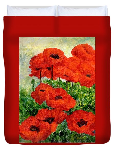 Red  Poppies In Shade Colorful Flowers Garden Art Duvet Cover