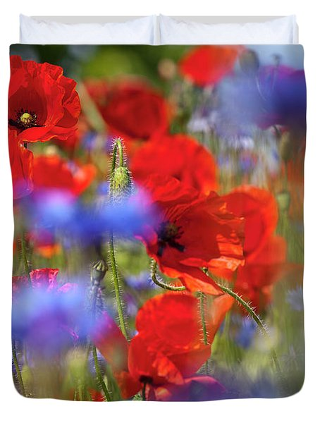 Red Poppies In The Maedow Duvet Cover