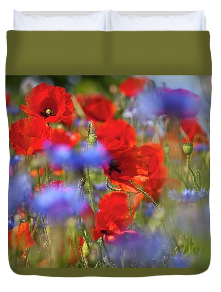 Red Poppies In The Maedow Duvet Cover by Heiko Koehrer-Wagner