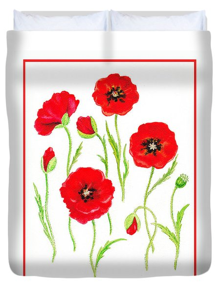 Red Poppies Duvet Cover by Irina Sztukowski