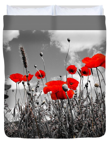 Red Poppies On Black And White Background Duvet Cover