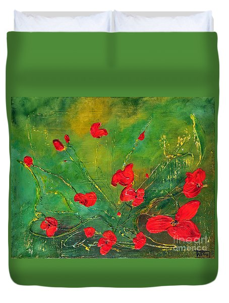 Duvet Cover featuring the painting Red Poppies by Teresa Wegrzyn