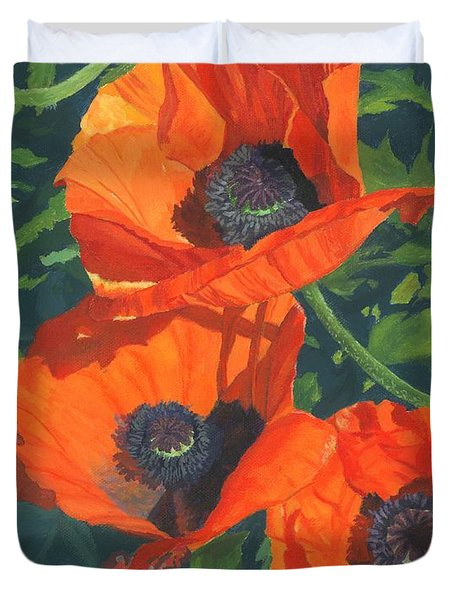 Duvet Cover featuring the painting Red Poppies Three by Lynne Reichhart