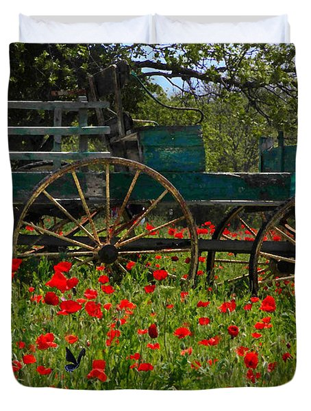 Red Poppies With Wagon Duvet Cover