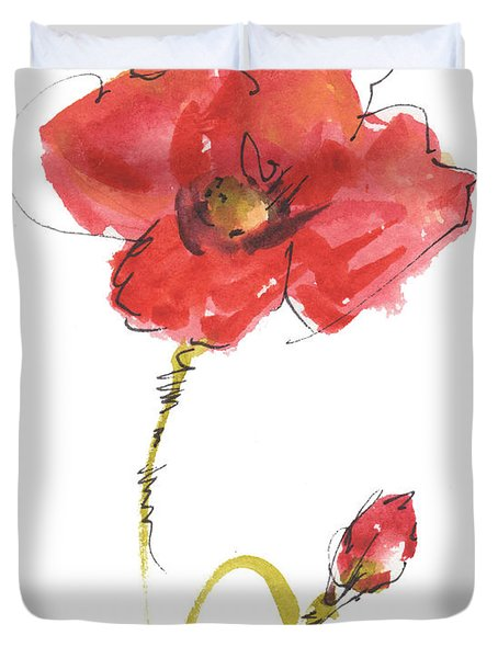 Red Poppy And Bud Duvet Cover
