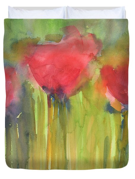 Red Poppy Elegance Duvet Cover