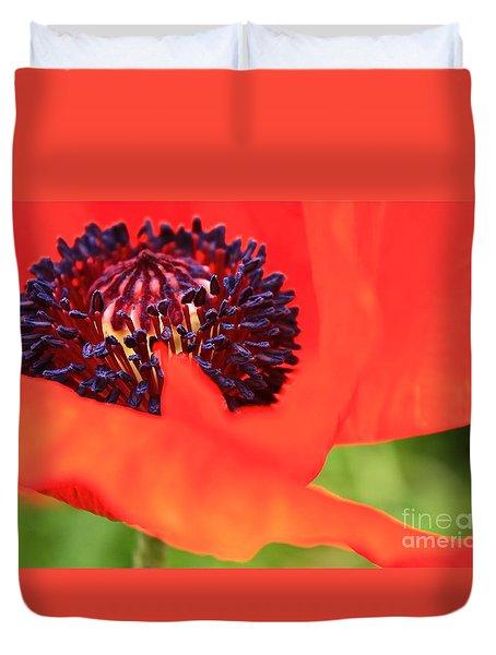 Red Poppy Duvet Cover by Linda Bianic