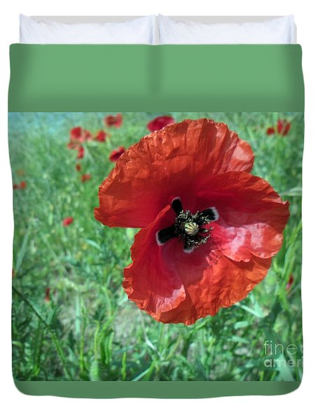 Duvet Cover featuring the photograph Red Poppy by Vesna Martinjak