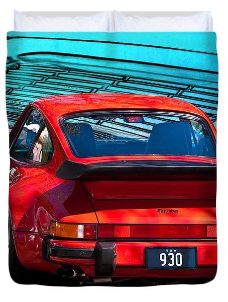 Red Porsche 930 Turbo Duvet Cover
