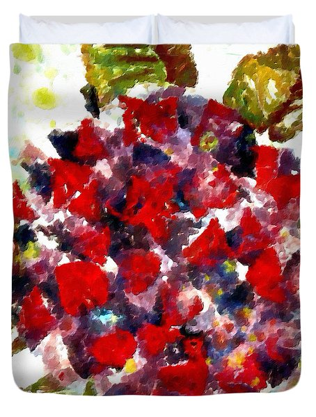 Duvet Cover featuring the painting Red Purple Flower by Joan Reese