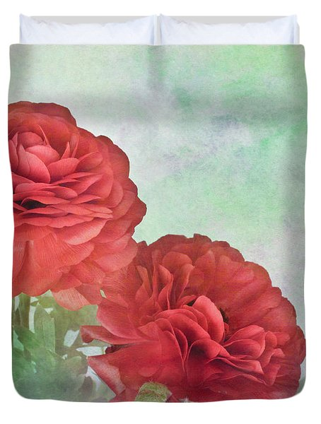 Red Ranunculus Duvet Cover by David and Carol Kelly