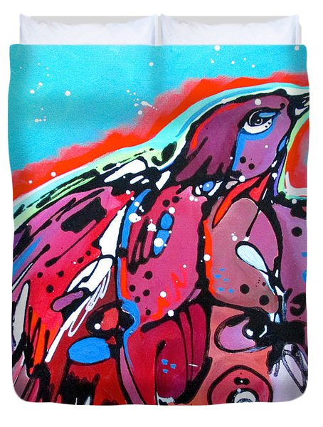 Duvet Cover featuring the painting Red Raven by Nicole Gaitan