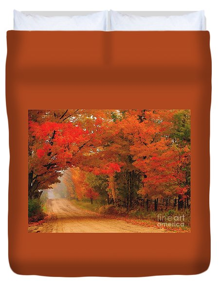 Red Red Autumn Duvet Cover by Terri Gostola